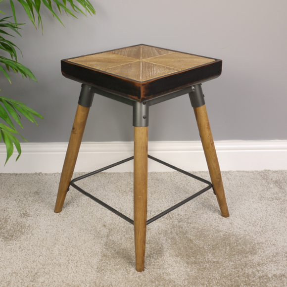 48cm Industrial Style Wood & Metal Stool