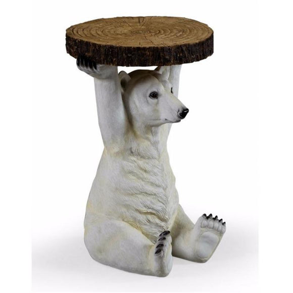 52cm Polar Bear Trunk Slice Side Table