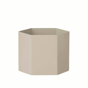 Hexagon grey planter/pot in Large by ferm Living