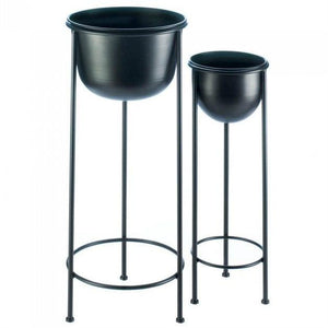 Black Buckets Metal Plant Stand Set