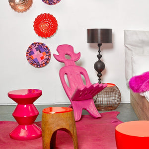 Pols Potten BRIGHT PINK ZIG ZAG STOOL