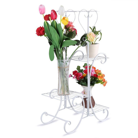 4 Tier Decorative Metal Flower Pot Plant Stand Display Shelf Indoor Outdoor Garden Patio
