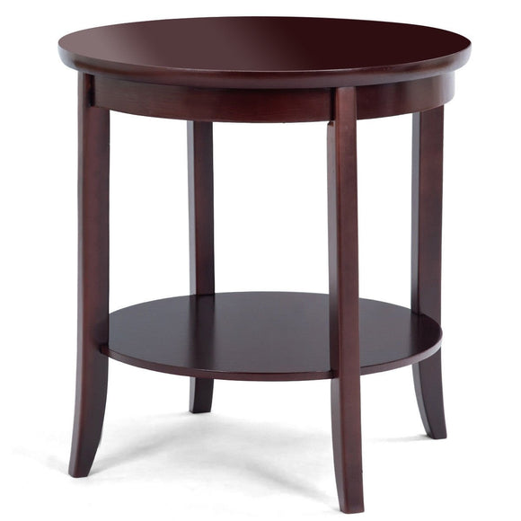Round Wood Sofa Side End Table