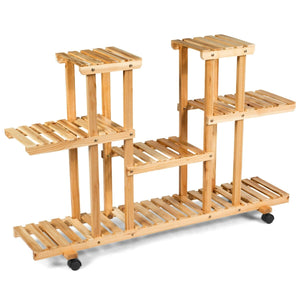 4-Tier Wood Casters Rolling Shelf Plant Stand-Natural