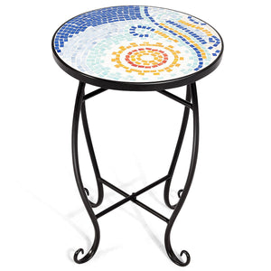 Outdoor Indoor Steel Accent Plant Stand Cobalt Table-Navy