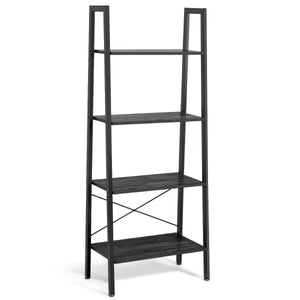 4-Tier Ladder Shelf Bookcase Bookshelf Display Rack Plant Stand-Silver