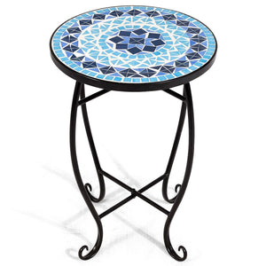 Outdoor Indoor Steel Accent Plant Stand Cobalt Table-Blue