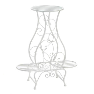 White Hourglass Triple Plant Stand