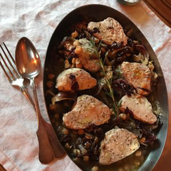 Albacore Tuna Medallions Braised with Radicchio, Chickpeas & Rosemary