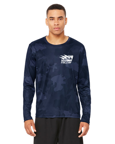 Tre Fin Logo All Sport Performance Long-Sleeve T-Shirt in Navy Camo