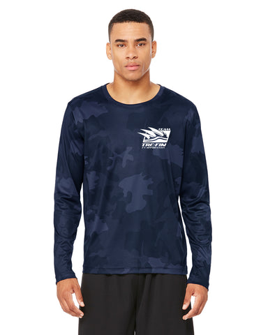 Three Fin Logo All Sport Performance Long-Sleeve T-Shirt in Navy Camo