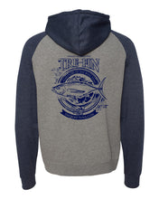 Load image into Gallery viewer, Heritage Logo Raglan Hooded Pullover Sweatshirt in Gunmetal Heather/Navy