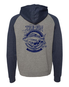 Heritage Logo Raglan Hooded Pullover Sweatshirt in Gunmetal Heather/Navy