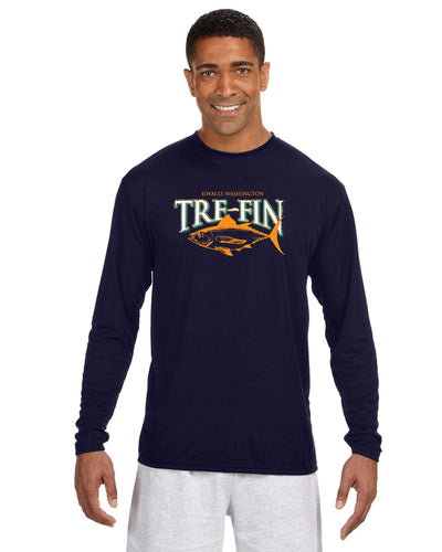Men's Heritage Logo Cooling Performance Long-Sleeve T-Shirt in Navy