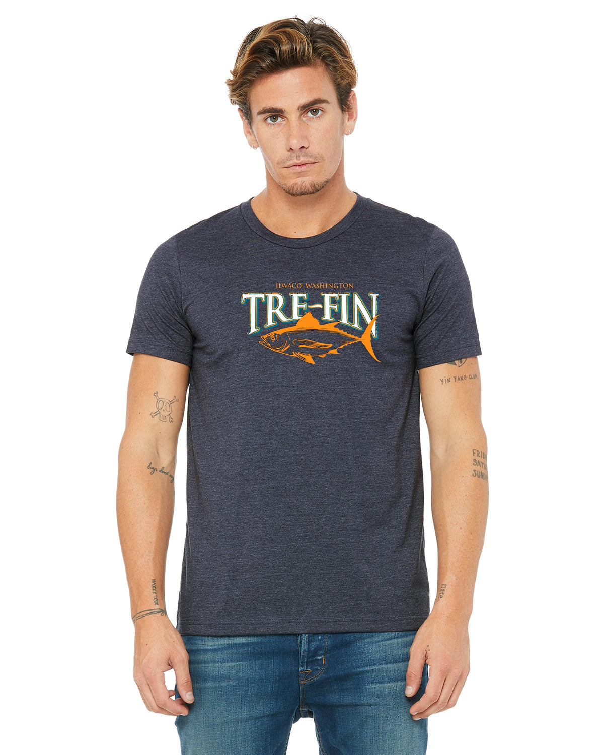 Heritage Logo Short Sleeve T-Shirt in Heathered Navy