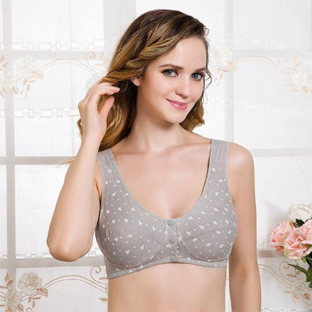 3 Buttons Front Closure Comfort Wire Free Breastfeeding Bras