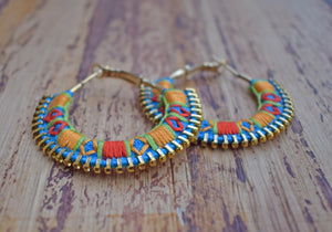 Turquoise Orange Hand Embroidered Hoops