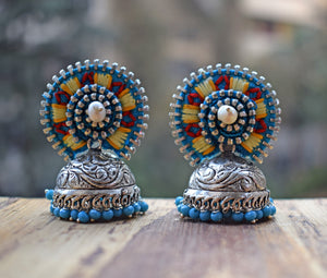Turquoise Red Hand Embroidered Jhumka