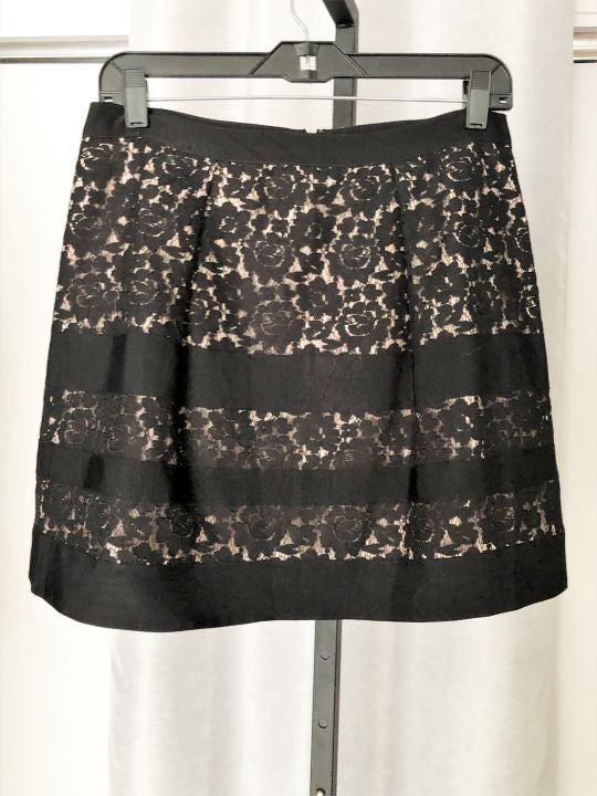 J.Crew Size 6 Nude with Black Lace Overlay Skirt - NEW