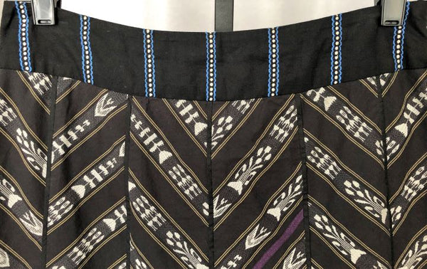 Floreat Anthropologie Size 2 Black Skirt Colorful Stripes