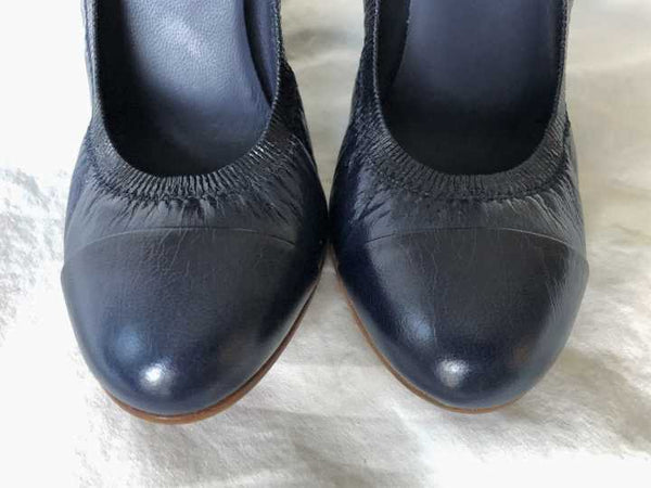 CHANEL Size 5.5  Navy Leather Pumps - NEW