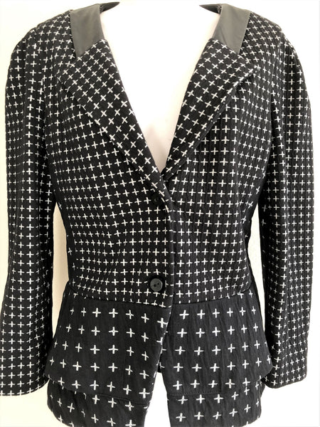 Cartonnier Anthropologie LARGE Black White Cross Blazer