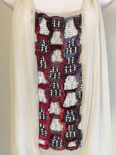 Burning Torch Size Small Beige Sequin Tank