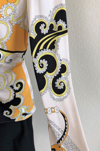 Emilio Pucci Size 14 Cream and Black Print Top