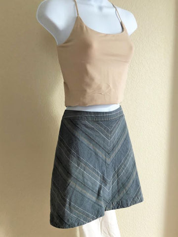 Free People Size 12 Blue Striped Mini Skirt