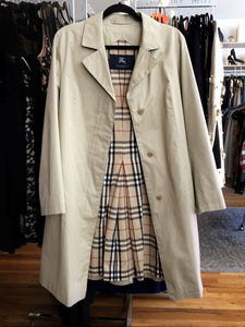 BURBERRY Size 8 Beige Coat Plaid Lining