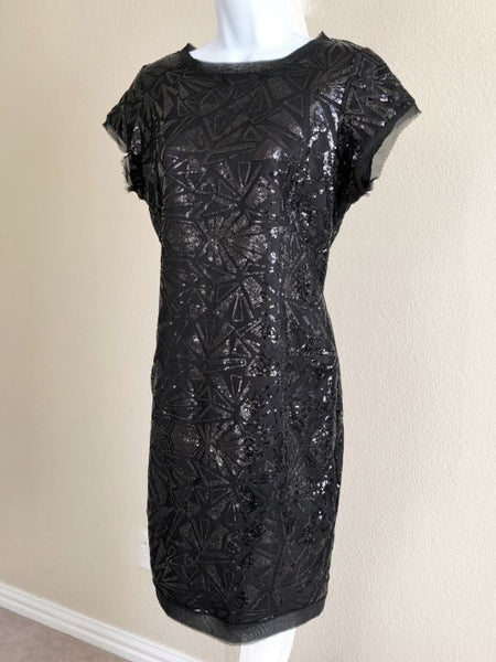 Vince Camuto Size 8 Black Sequin Dress