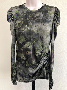 WORTH Size 2 Green Floral Ruched Top