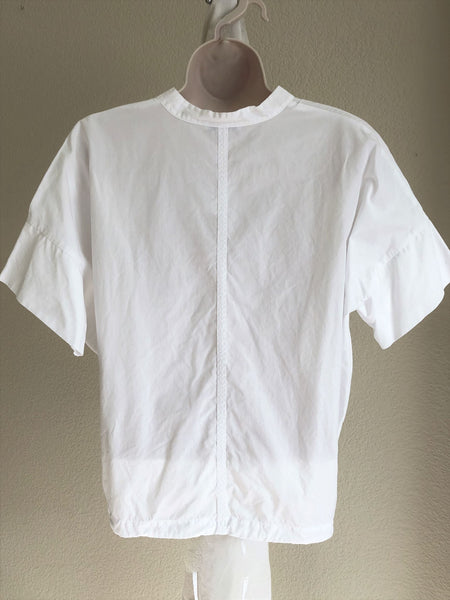 VINCE SMALL White Short Sleeve Drawstring Top