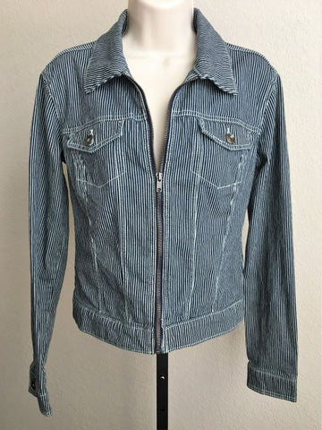 Norma Kamali Size Medium Striped Denim Jacket