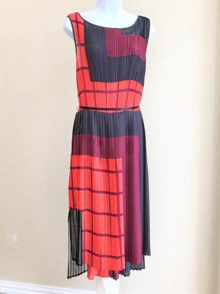 BCBGMaxazria Size Large Orange and Gray Dress