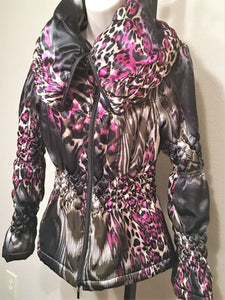 Samuel Dong Small Black & Magenta Animal Print Coat