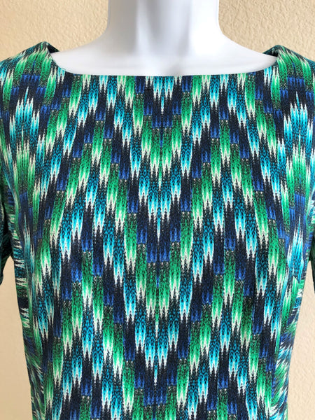 Milly Size 6  Blue and Green Geometric Print Dress