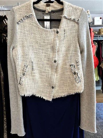 Free People Size 10 White Gray Tweed Moto Blazer