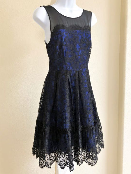 Moulinette Soeurs Anthropologie Size 6 Blue Black Lace Dress