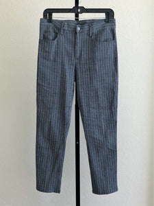 Theory Size 2 Blue Striped Cropped Linen Pants