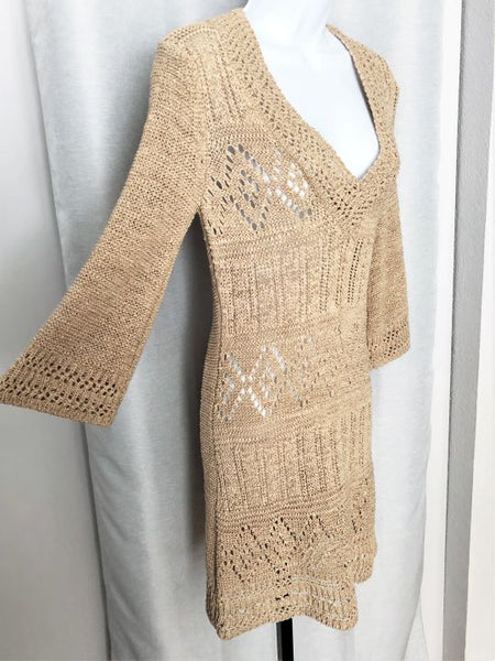 Vertigo Size  Large Tan Open Knit Dress