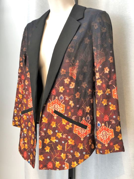Cartonnier Anthropologie Sz 4 Brown Floral Blazer