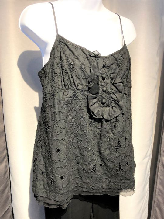 Juicy Couture Size XL Black Eyelet Lace Tank Top