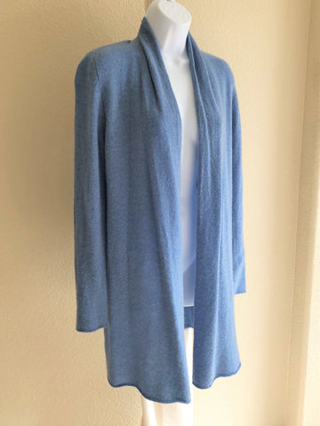 White + Warren LARGE Blue Cashmere Cardigan