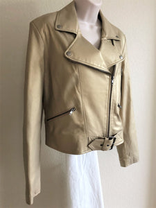 Identify Size 10 Gold Leather Moto Jacket