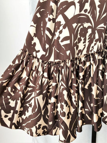 BCBGMaxazria Size 2 Silk Brown Floral Dress