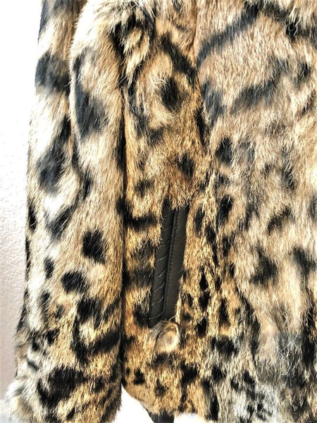 KORS Michael Kors Leopard Print Rabbit Fur Coat