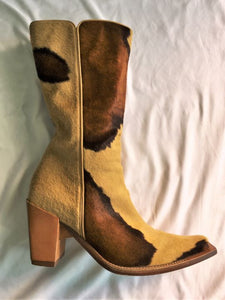 Casadei Size 7 Tan and Brown Calf Hair Boots
