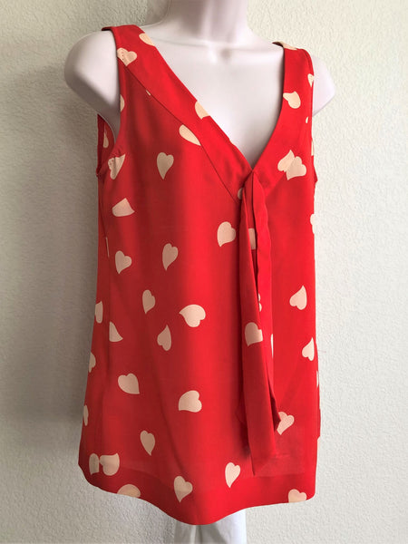 Tory Burch Size 4 Red Hearts Top
