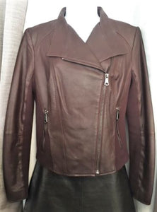 Andrew Marc MEDIUM Burgundy Leather Moto Jacket